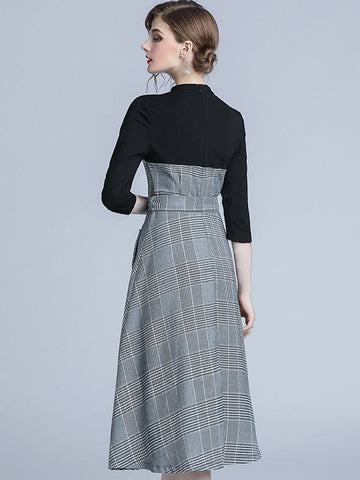 Plaid Stitching Stand Collar Pocket A-Line Dress