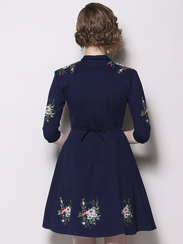 Embroidery V-Neck Long Sleeve Skater Dress