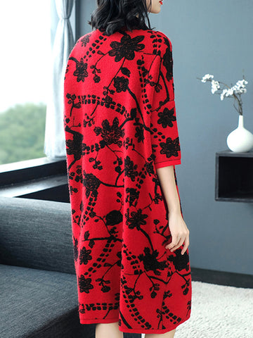 3/4 Sleeve Stand Collar Print Shift Dress