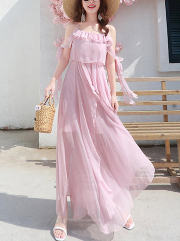 Sweet Pink Lacing Bowknot Mesh Maxi Dress