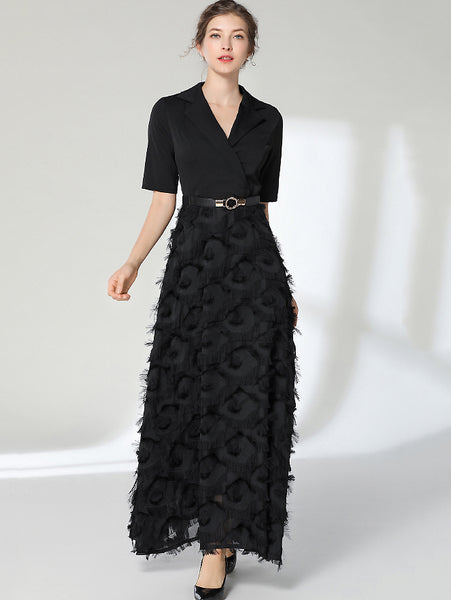 Party Feather Stitching Lapel Collar Half Sleeve Pure Color Maxi Dress
