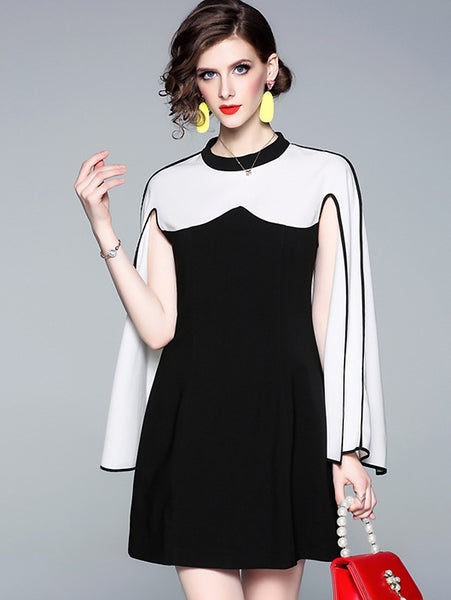 Stitching Hit Color O-Neck with Cape Dress