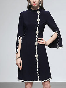 Pure Color Stand Neck Long Sleeve High Waist Dress