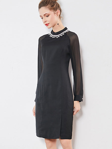 Simple Mesh Stitching O-Neck Beaded Long Sleeve Dress