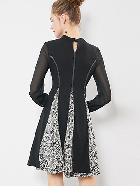Chic O-Neck Puff Sleeve Print Stitching A-Line Dress