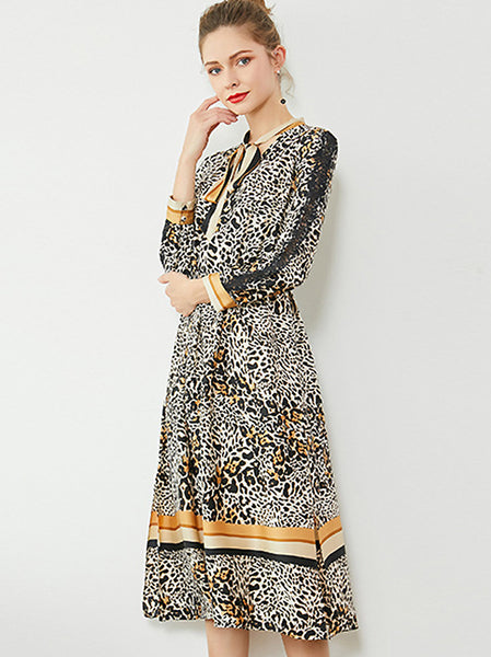 Leopard Print Lacing Long Sleeve Collect Waist Dress