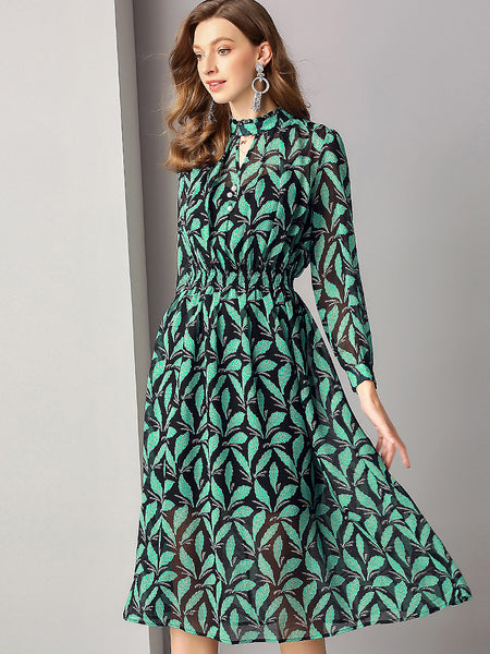 Chic Print V-Neck Long Sleeve Chiffon A-Line Midi Dress