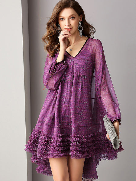 Print V-Neck Puff Sleeve Loose Irregular Big Hem Dress