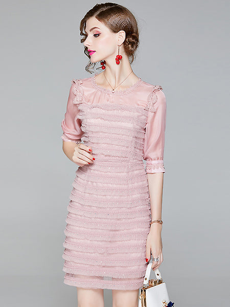 Sexy O-Neck Half Sleeve High Waist Layered dress