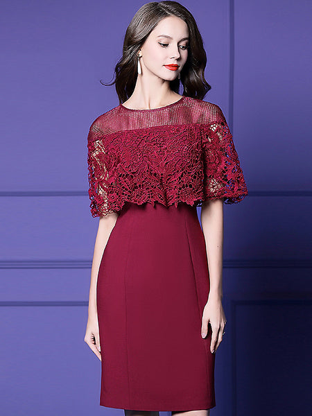 Lace Stitching Mesh Cape High Waist One-Step Dress