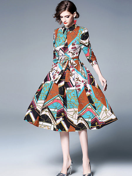 Stylish Print Turn-Down Collar 3/4 Sleeve Pleated Big Hem Dress