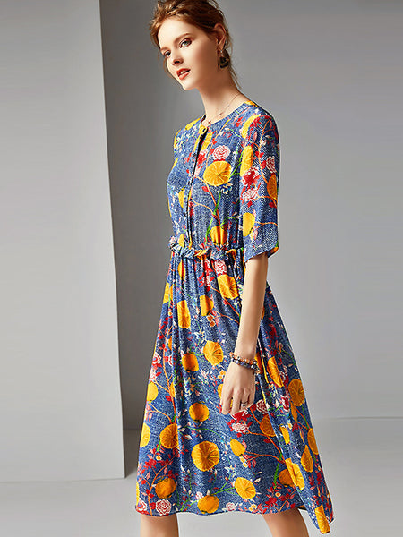 Chic Print Silk O-Neck Half Sleeve Pleated Midi Dress