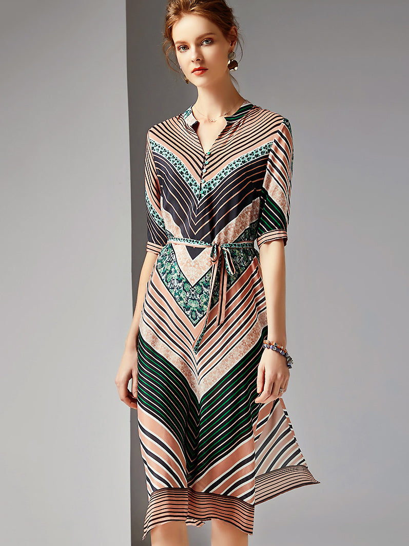 Fashion Print Stripe V-Neck Half Sleeve Silk Slit Midi Dress