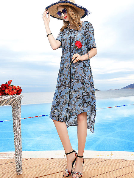Elegant V-Neck Floral Silk Irregular Dress