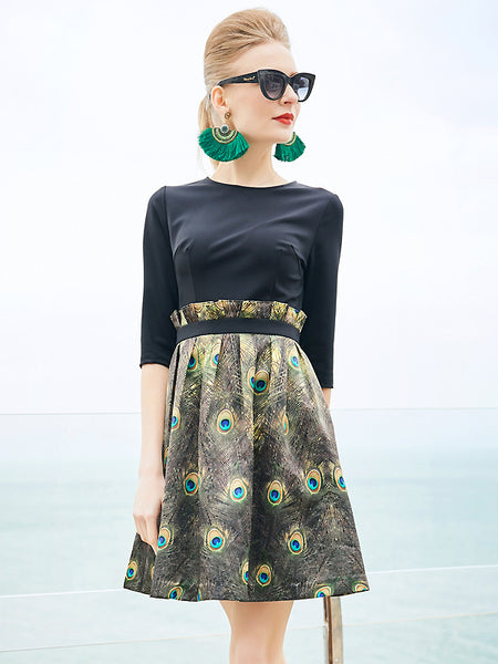 Elegant Peacock Print Half Sleeve Slim A-Line Dress