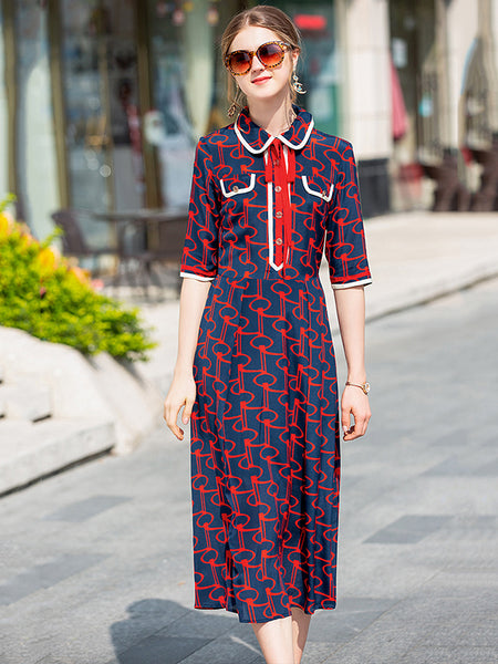 Stylish Turn-Down Collar Bowknot Half Sleeve Silk A-Line Dress