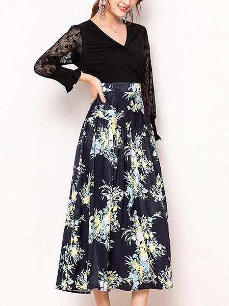 Fashion Print Stitching V-Neck Long Sleeves Big Hem Skater Dress