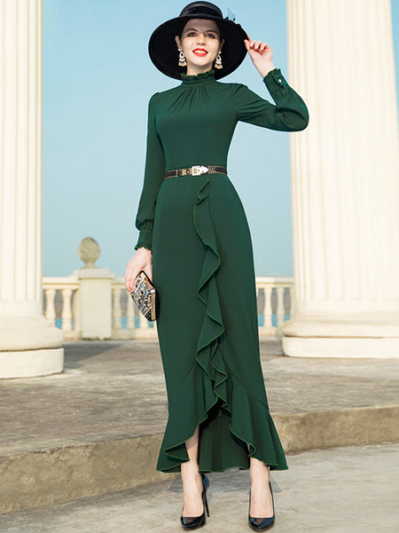 Vintage Pure Color Stand Collar Long Sleeves Falbala Maxi Dress