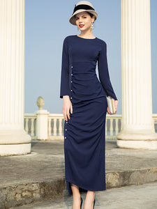Vintage Pure Color O-Neck Collar Long Sleeves Sheath Dress