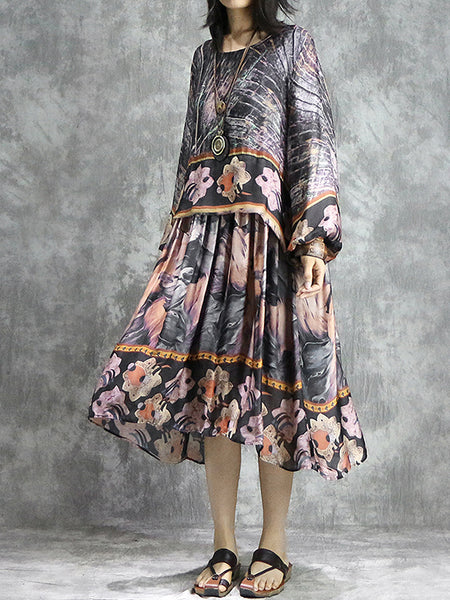 Stylish Print Long Sleeve O-Neck Shift Dress