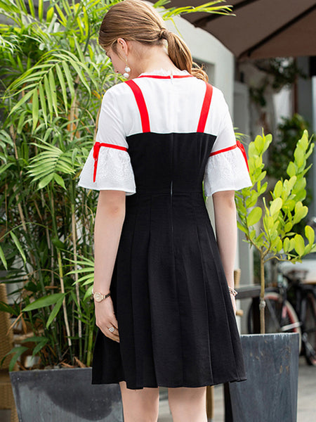 Sweet Slim Flare Sleeve Bowknot Fake Two Piece Dresses