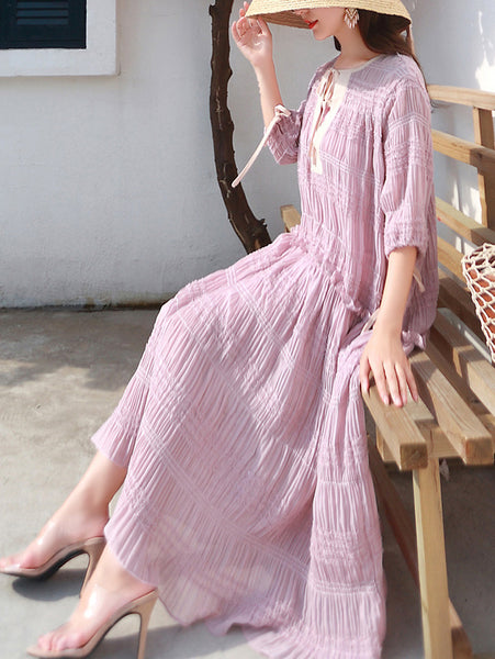 Bohemian Casual Pure Color O-Neck Half Sleeve Two Piece Shift Dress
