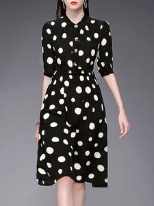 Polka Dot Silk Black Stand Collar Half Sleeve Single Breasted A-line Dress