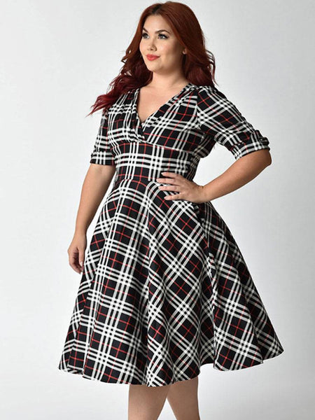 Casual Plaid Strip Short Sleeve Stitching V-Neck Plus Size Wrap Dress