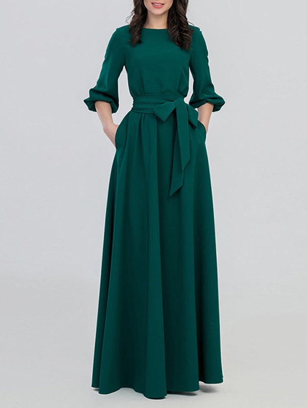 Green Vintage Bohemia 3/4 Sleeve O-Neck Long Pleated Dress