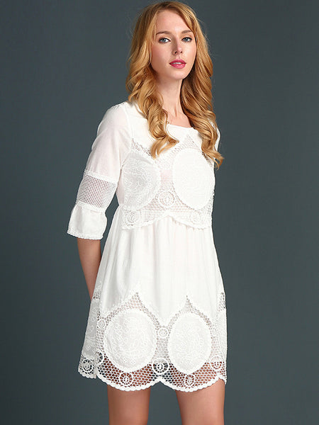 Popular White Lace Hollow Out Over Size Straight Dress