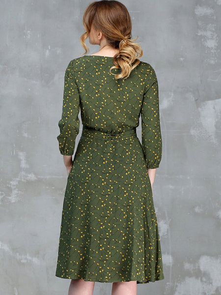 Printed High Elastic 3/4 Sleeve Round Collar A-Line Dresses