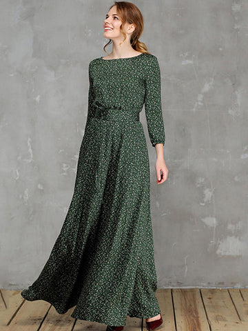 Elegant Casual Green Floral Print 3/4 Sleeve O-Neck Big Hem Dress