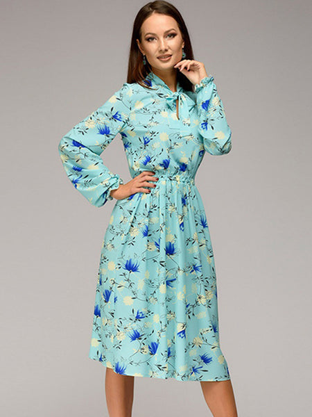 Print Stylish Sashes Long Sleeve O-Neck Sheath Pleated Dress
