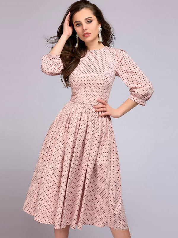 Sweet Pink Belted Slim Spot Printed O-Neck 3/4 Sleeve Pleated Dresses