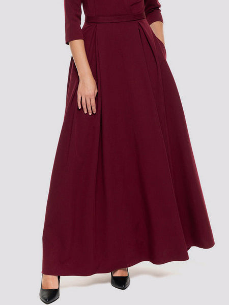 Fashion V-Neck 3/4 Sleeve Red Ankle-Length Big Hem Evening Dress