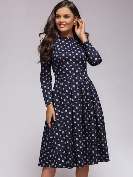 Elegant Party Long Sleeve O-Neck Skater Dress