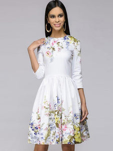 Sweeet White 3/4 Sleeve O-Neck Mini A-Line Dress