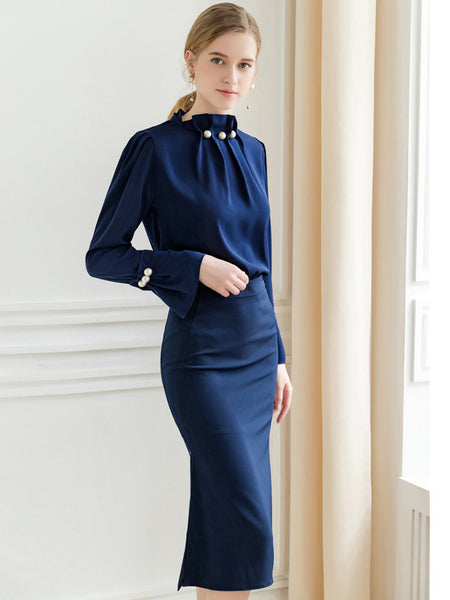 Silm Work Blue Long Sleeve Beaded Stand Collar Two Piece Dress
