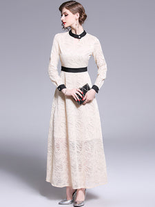 Elegant Silm Hollow Out Stand Collar Begie Big Hem Dress