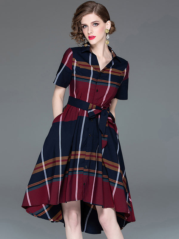 Casual Plaids Turn-Down Collar Stitching Short Sleeve Asymmetrical Dress