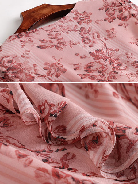 Cute Print Floral V-Neck Pink Short Sleeve Midi Dress