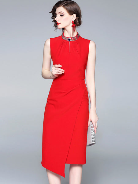 Elegant Party Sleeveless O-Neck Asymmetrical Dress