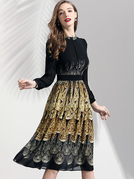 Peacock Pattern Stand Collar Long Sleeve Knee-Length Dress