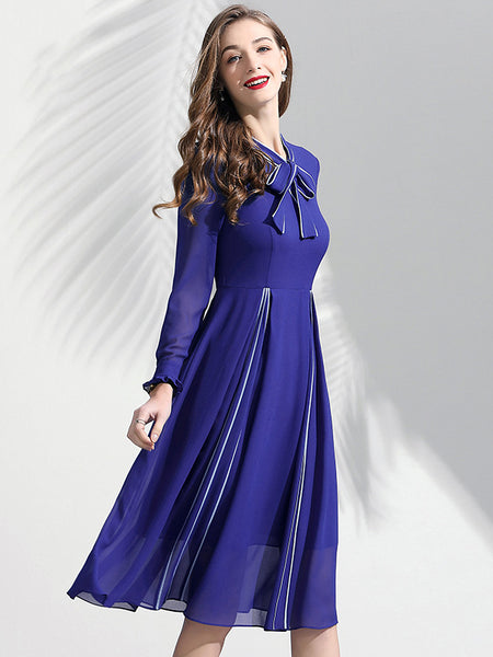 Lacing Stand Collar Blue Chiffon Long Sleeve A-Line Dress