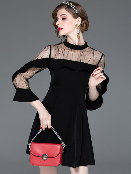 Sexy Lace Long Sleeve Patchwork Slim O-Neck Black Dress