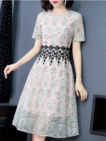 Pink Sweet Slim Short Sleeve O-Neck Lace Dress