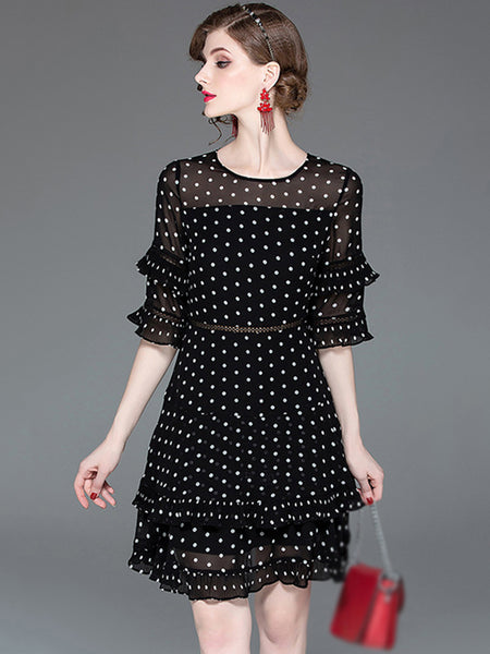 Falbala Polk Dots O-Neck Half Sleeve Irregular Sheath Dress