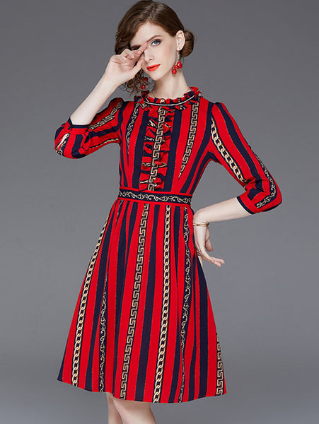 Vintage Stand Collar 3/4 Sleeve Strip A-line Dress