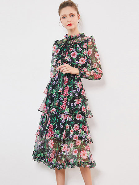 Stylish Print Stiitching Mesh Stand Collar Long Sleeve Maxi Dress