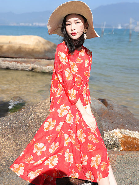 Printed Loose 3/4 Sleeve Two Piece Shift Dress